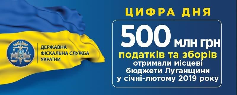 В бюджет Луганской области за первые месяцы 2019 года поступило почти полмиллиарда гривен, фото-1