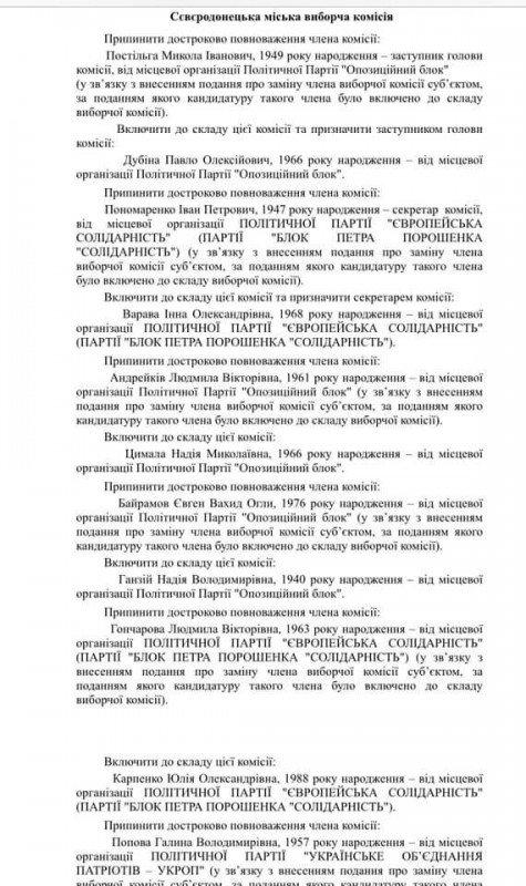 ЦИК убрала из ТИК Северодонецка нескольких депутатов , фото-2