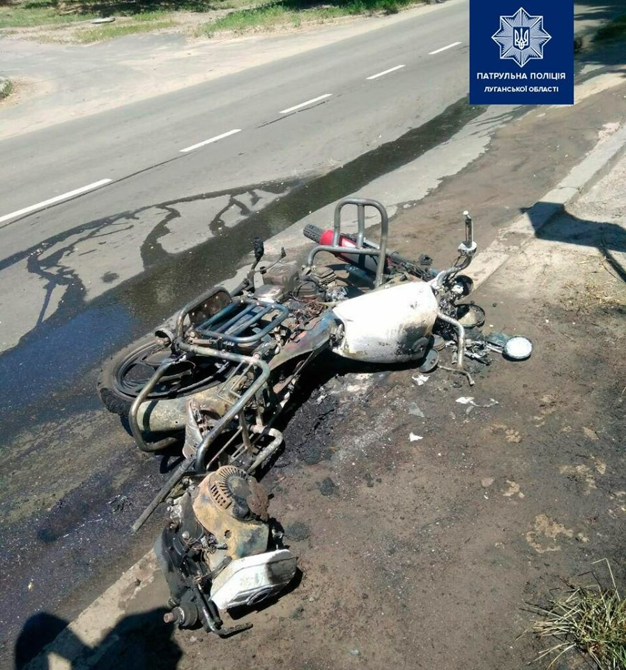 В Северодонецке в результате ДТП загорелся мопед, фото-1