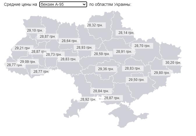 Средняя цена на бензин А-95 в Украине
