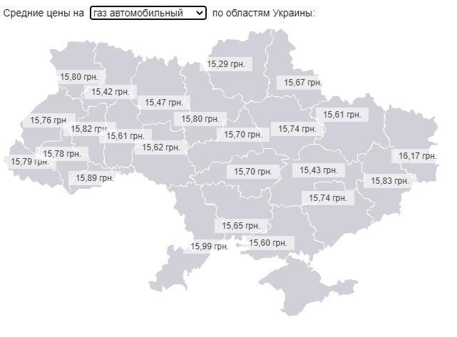Средняя цена на автомобильный газ в Украине